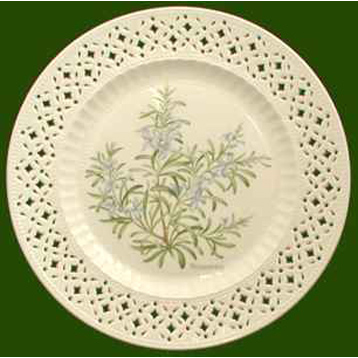 Hand Decorated Plate Herbs- Rosemary