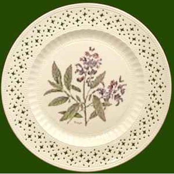 Hand Decorated Plate Herbs- Sage