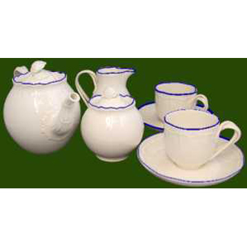 Shell Edge Blue Tea for Two Set