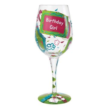 Birthday Girl Too Wine Glass