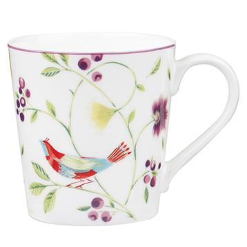 Singing Birds Chestnut Mug in White 300ml