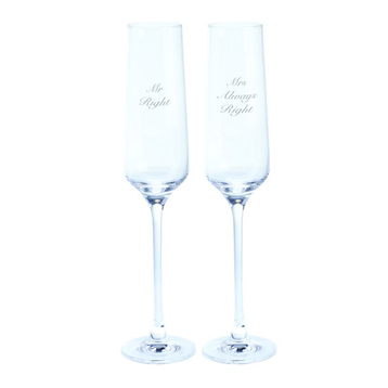 Just For You 'Mr Right & Mrs Always Right' Flute (Pair)