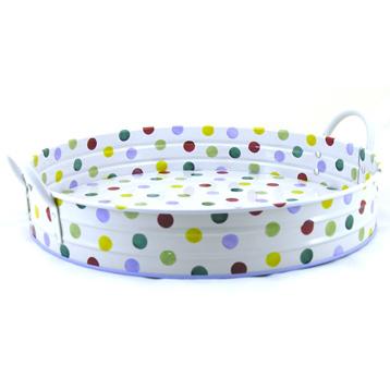 Polka Dot Large Round Garden Tray