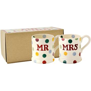 Mr & Mrs Set of 2 1/2 Pint Mugs
