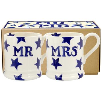 Blue Star Mr & Mrs Set of Two ½ Pint Mugs