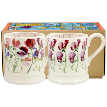 Sweet Pea Flowers Set of Two ½ Pint Mugs