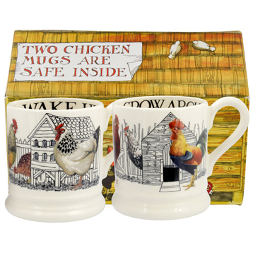 Hen & Toast Set of Two ½ Pint Mugs