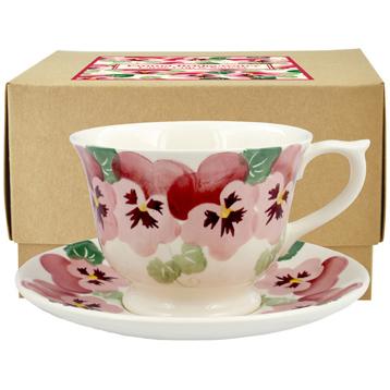 Pink Pansy Large Teacup & Saucer