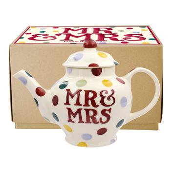 Polka Dot Mr & Mrs 2 Mug Teapot