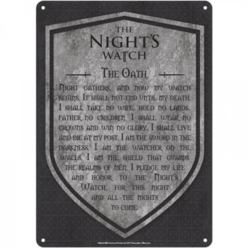 The Nights Watch Oath Small Tin Sign