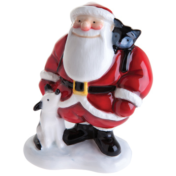 John Beswick Father Christmas with Dog & Cat Hand Painted Figurine