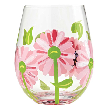 'Oops A Daisy' Stemless Wine Glass