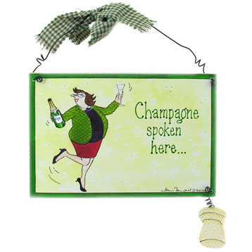 "Wooden Sign ""Champagne"""