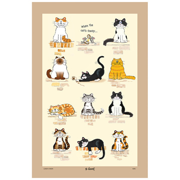 When the Cats Away Linen Union Tea Towel