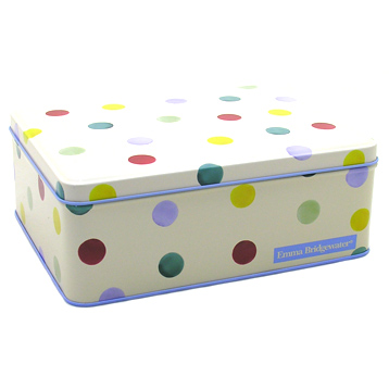 Polka Dot Deep Rectangular Tin