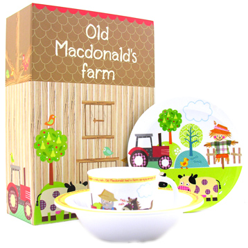 Queens Little Rhymes Old McDonald 3 Piece Melamine Set
