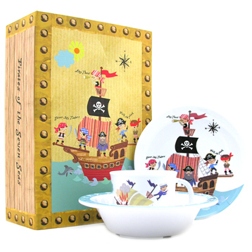 Queens Little Rhymes Pirates 3 Piece Melamine Set