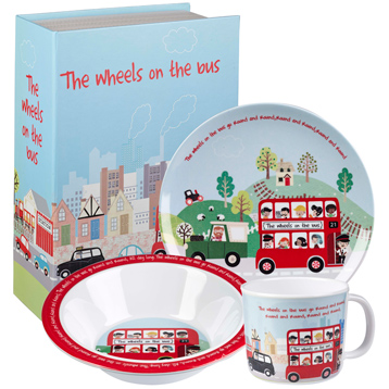 The Wheels On The Bus 3 Piece Melamine Breakfast Set